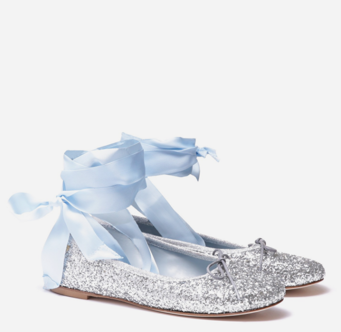 LACE-UP SILVER GLITTER BALLET FLATS WITH GOLD METAL - CHIARA FERRAGNI