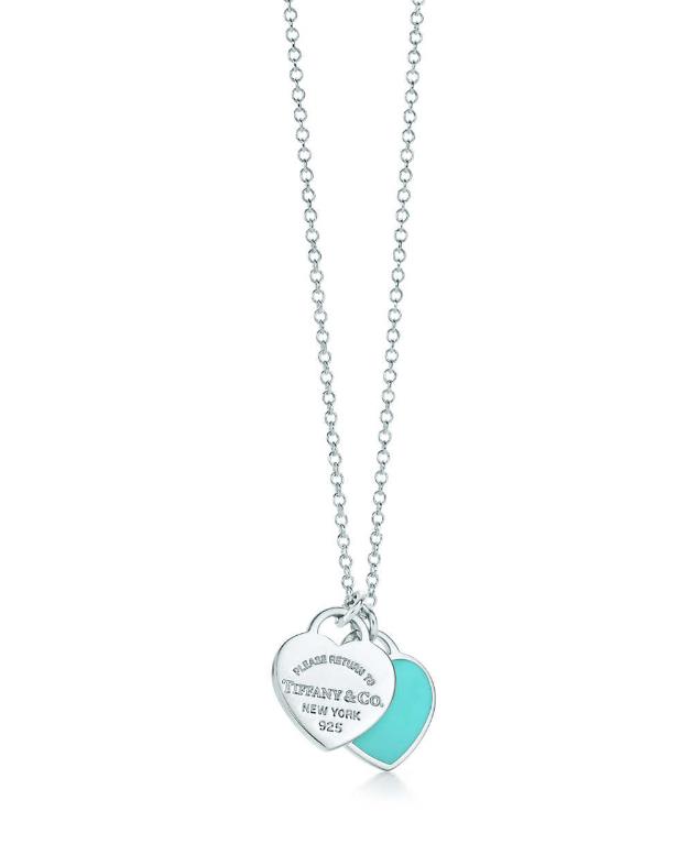 Pendentif double Plaque Cœur mini - Tiffany