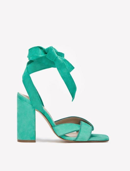 Sandales lace up turquoise - Massimo Dutti